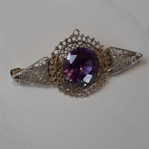 purple glass edwardian brooch