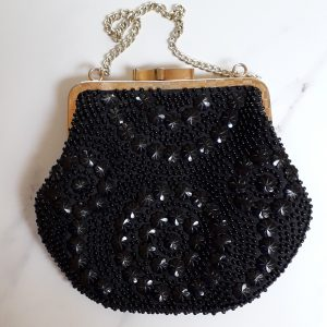 black beaded evening bag prom