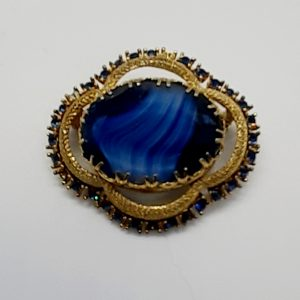 Blue vintage brooch 50s