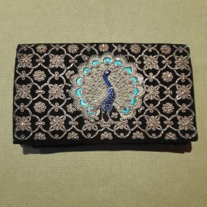 black velvet purse peacock