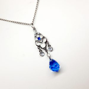 art deco blue pendant