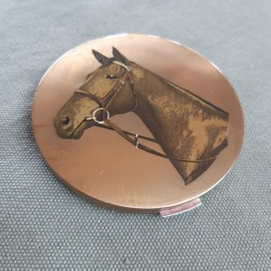Stratton racehorse vintage compact, hand painted compact